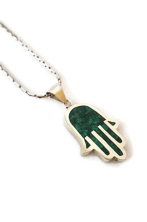 Malachite Hamsa Sterling Silver Necklace