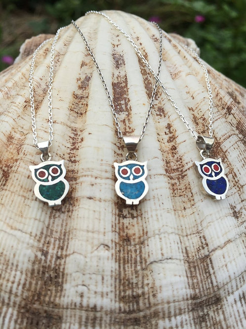 Owl Necklace 925 Sterling Silver