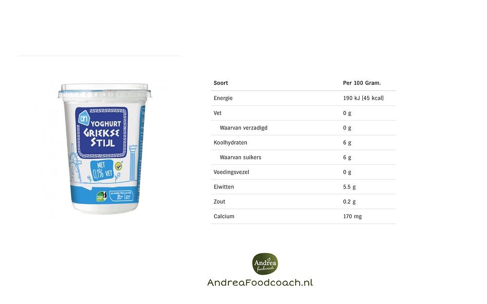 Griekse stijl yoghurt 0% vet Andrea Foodcoach