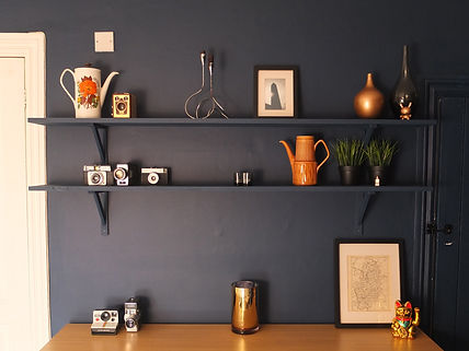 Dining room shelf styling