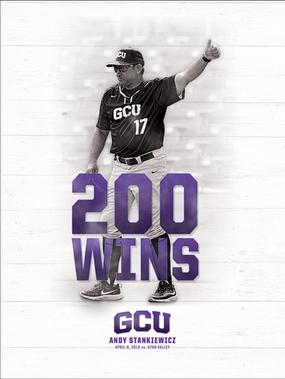 GCU Baseball: Andy Stankiewicz 200th Win Poster