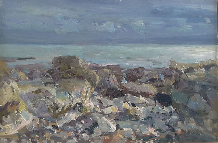 230320 Rocks and Pearly Sea, 2020 oil on