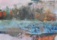 02 Riverbank and ice 28x40 inches oil, c