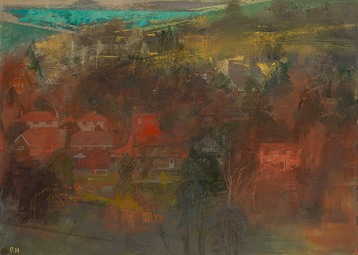Houses_and_Fields_at_Dusk,_oil_on_board_