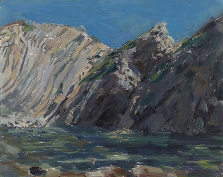 Tom Benjamin 1329 Tide in at Stair Hole oil on board 8 x 10 inches 2020.jpg