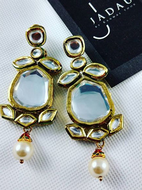 Kundan Flower & Pearl Drop Earrings