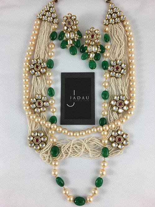Pearl String, Kundan Flower & Emerald Necklace with Earrings