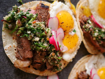 A better way to have breakfast..Chimichurri steak tacos.