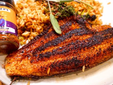 Willie D's Cast Iron Cajun Blackened Fish and Vegan Cajun Dirty Rice