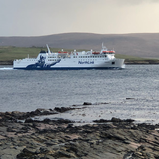 MV Hamnavoe passing through Hoy Sound.