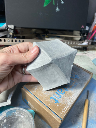 Slab geometric stacking bowl.