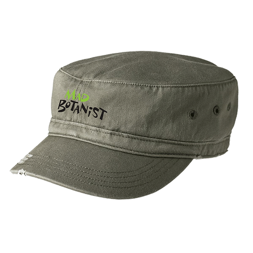 Olive Embroidered Distressed Fidel Cap