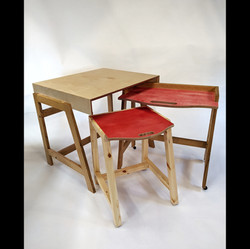 Musicians Desk set, Birch plywood, stain