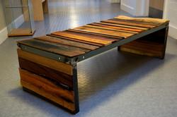 Steel framed bench