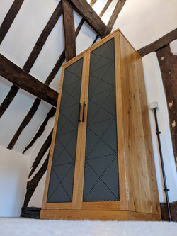 Character Oak Wardrobe with fabric and n