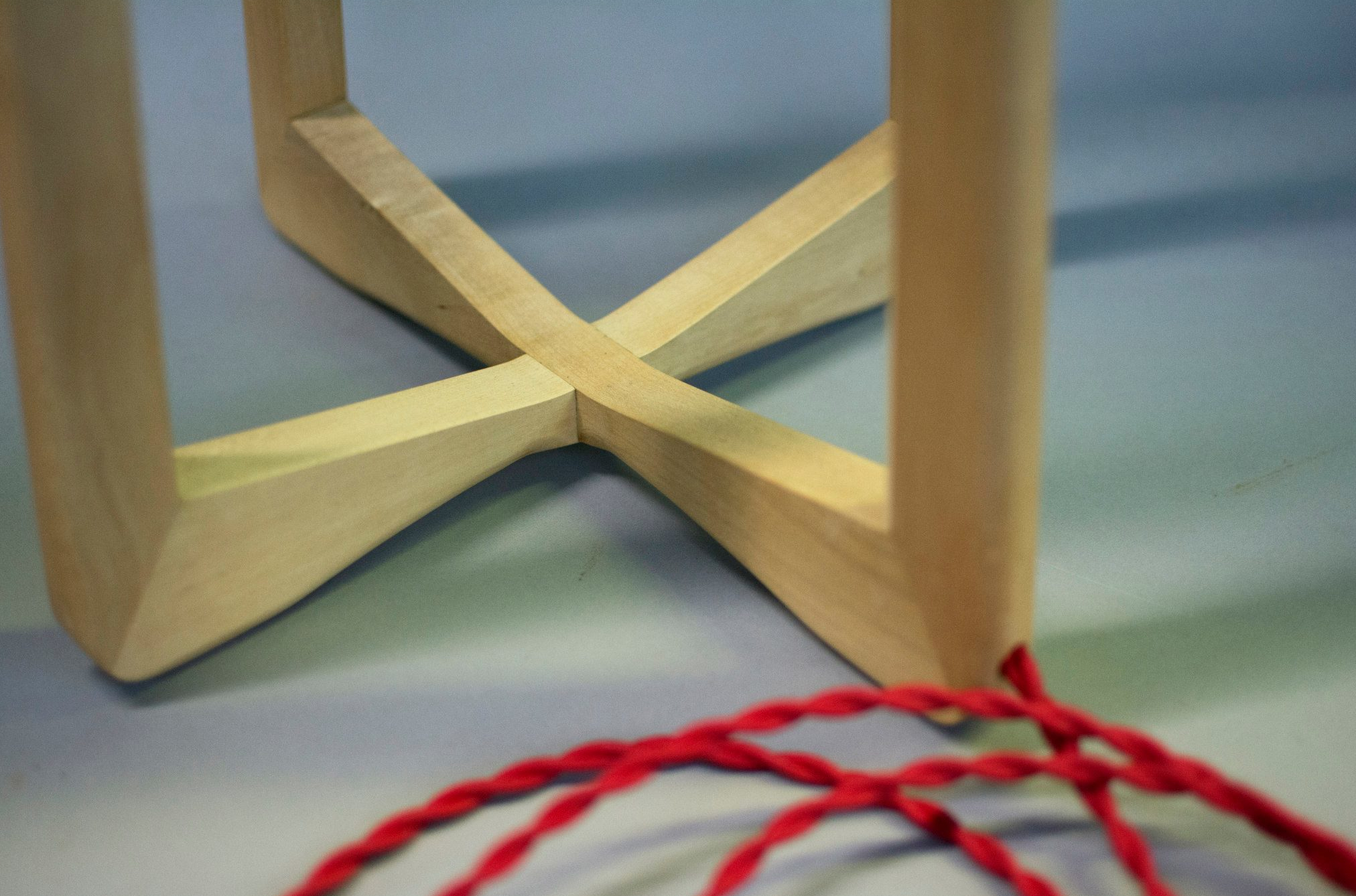 Sycamore lamp base with red braided cord