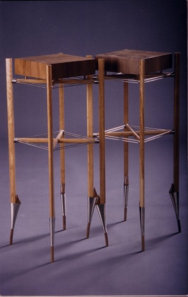 Pair of pedestal tables in American Waln