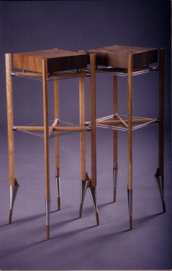 Pair of pedestal tables in American Waln