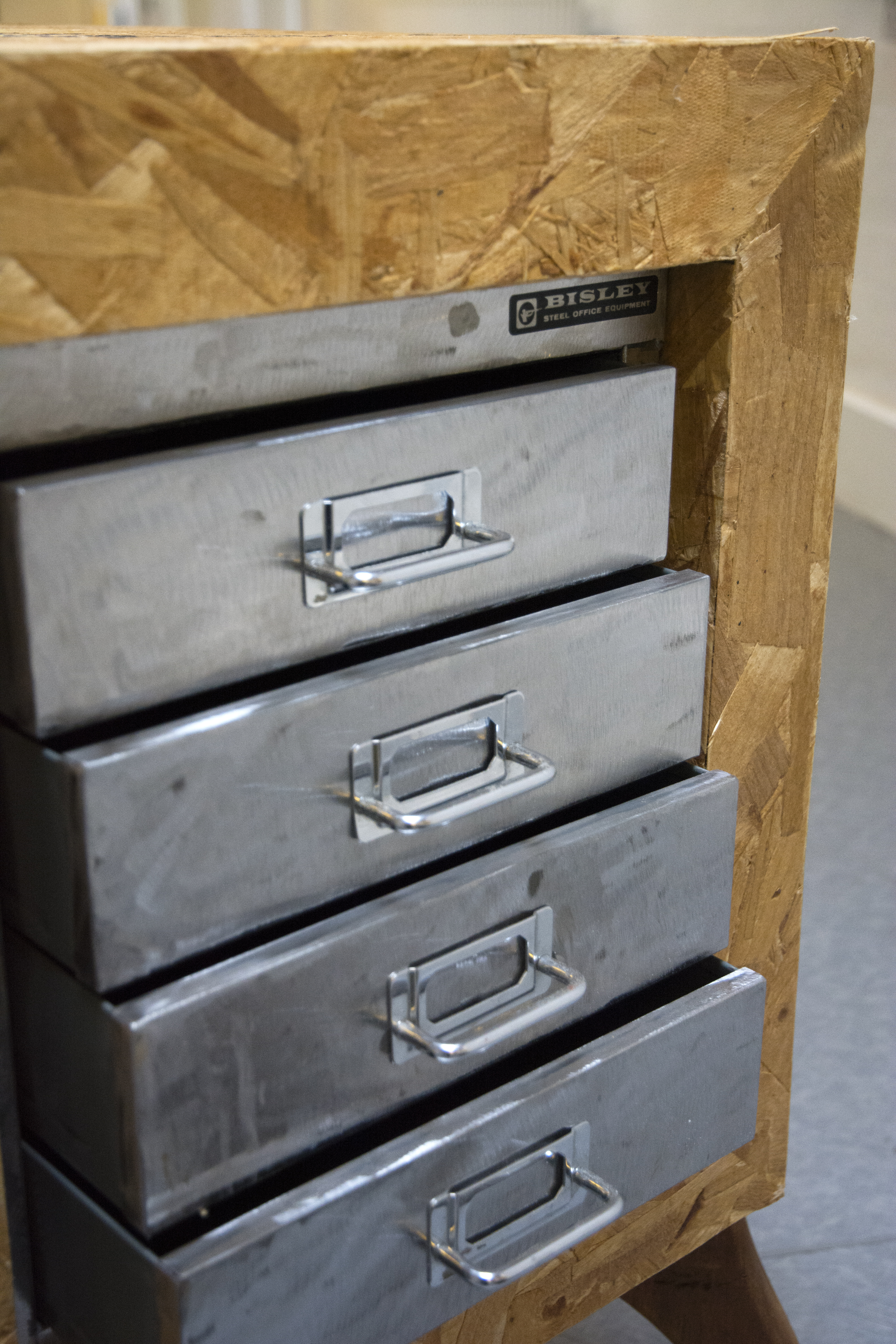 Recycled filing drawers detail