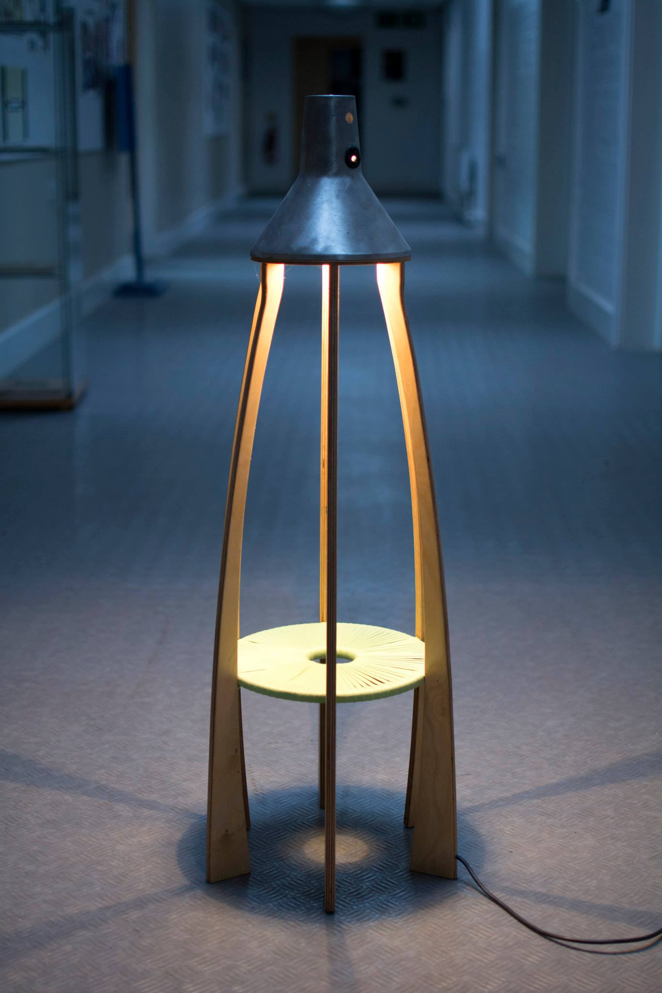 Fllor lamp, Steel and cotton and plywood