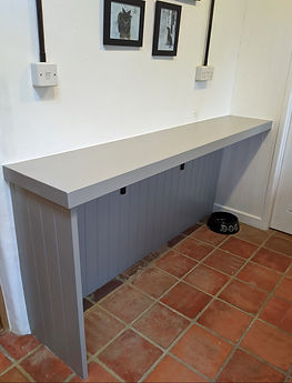 Utility room dog bed area and storage