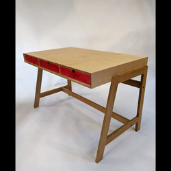 Desk, Birch plywood, stained, Prime Oak.