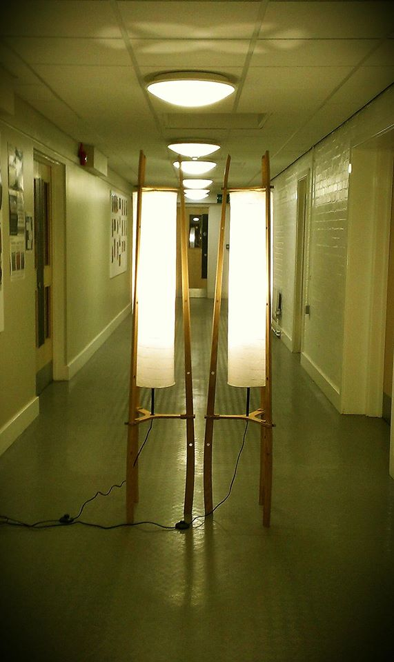 Pair of Oak floor lamps with paper shade