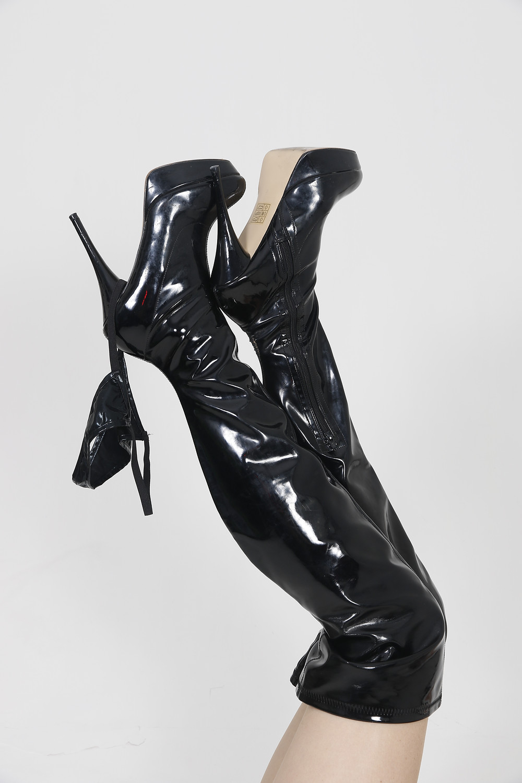 Long Legs Shiny Thigh High Heels Thong