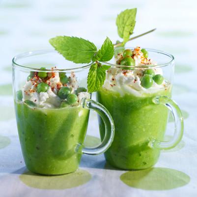 Gazpacho of peas, mint & feta