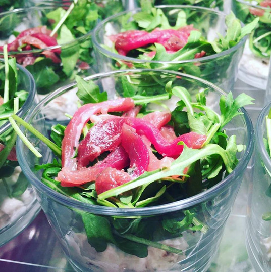Verrine salad with dried duck brest, whipped cream, walnut & figs