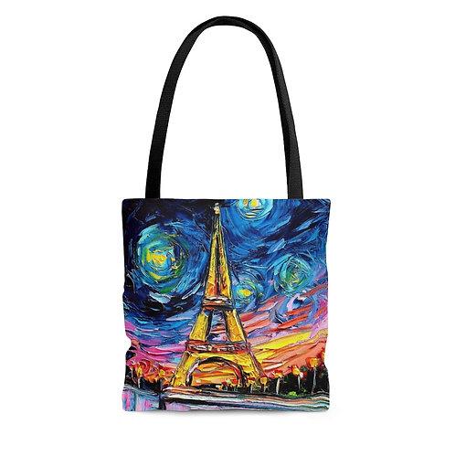 Vincent van Gogh's Never Saw Eiffel black tote