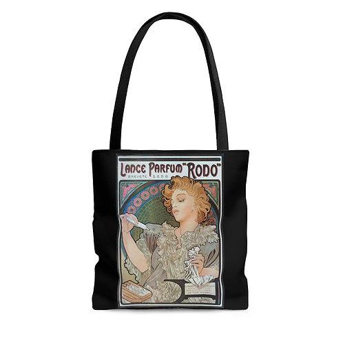 Alphonse Mucha's Lance Parfuma Rodo blak tote