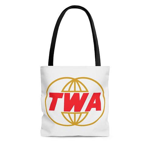 TWA white tote bag