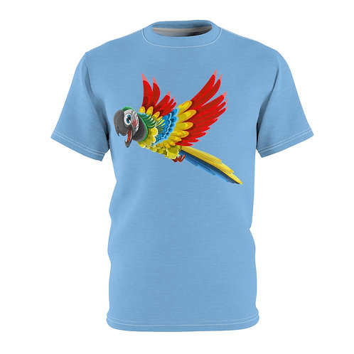 Excited Parrot (light blue) - AOP Cut & Sew Tee