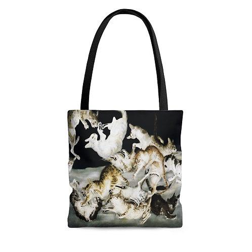 Tsuguharu Foujita's Cat Fight black tote