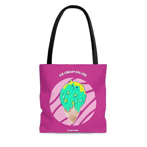 Catastic: Ice Cream Solves Everything hot pink tote