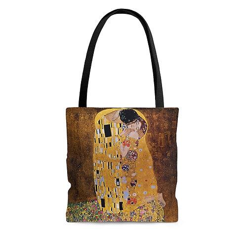 Klimt's The Kiss black tote