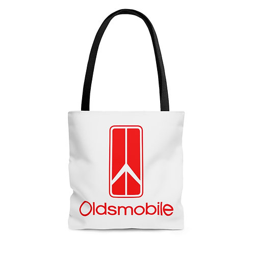 Oldsmobile 70s white tote bag