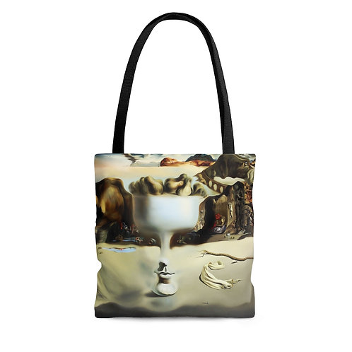 Salvador Dali's Apparition of a Face and Fruit Dish on a Beach black tote
