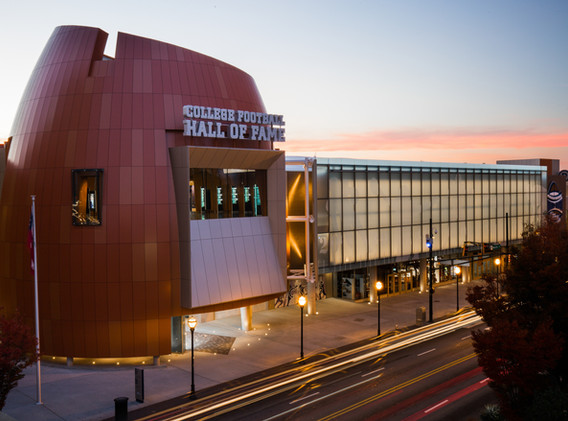 College Football Hall of Fame Exterior at Dusk