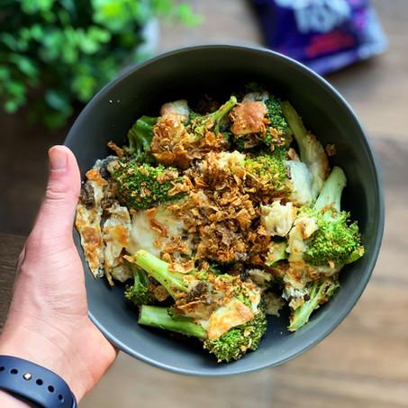 Crispy Salmon Skin Broccoli (Keto & Gluten Free)