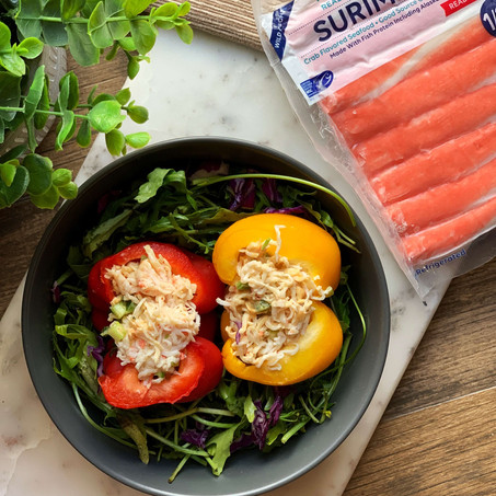 Surimi Flakes Stuffed Bell Peppers