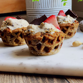 Peanut Butter Chocolate Chip Ice Cream Waffle Cups (Gluten Free & Low Carb)