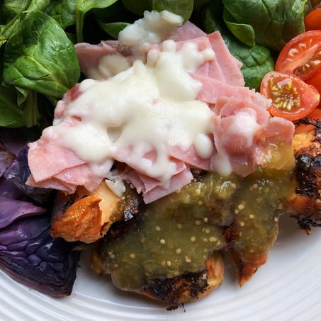 Green Salsa Cordon Bleu Chicken (Keto, Air Fryer Recipe)