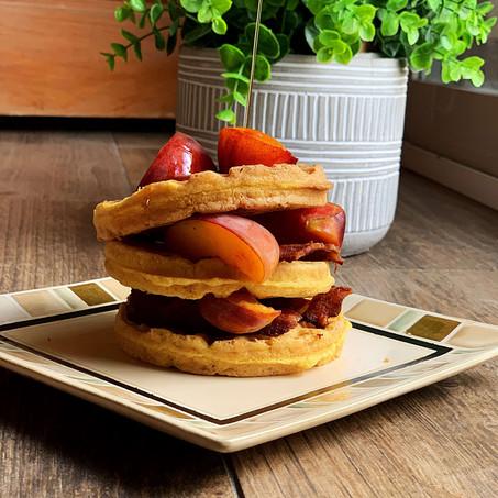 Peaches & Bacon Maple Waffles (Gluten Free & Keto)