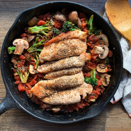 Broccoli and Chicken Italian Skillet (Whole 30, Paleo, Low Carb)