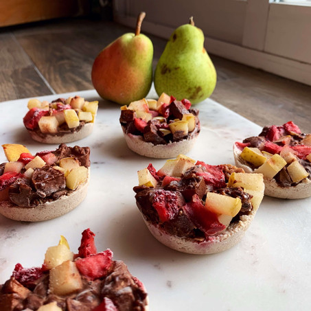 Chocolate Ginger Pear Tarts (Vegan & Keto)