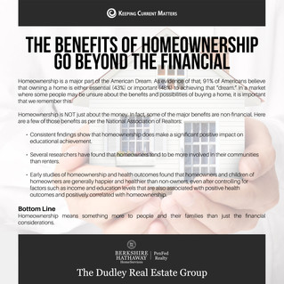 The Benefits Of Homeownership Go Beyond The Financial
