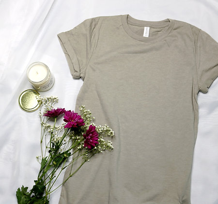 Heather Stone Rolled Cuff Tee