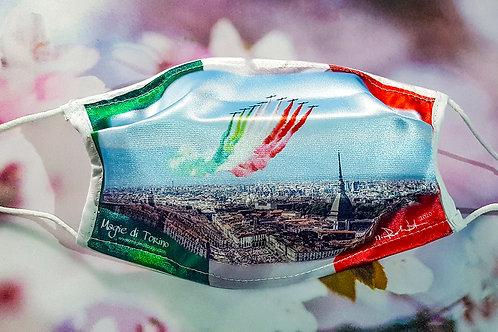 """Mascherina """"Frecce Tricolori"""" con sfondo bandiera"""